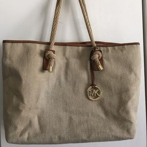 MICHAEL KORS Large Woven Canvas Fabric Tote bag